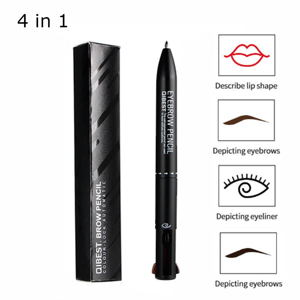 Eyebrow & Eyeliner Pencil, Red Lip Liner, 4 in 1 Waterproof Smudgeproof Longlasting Eyebrow Pencil