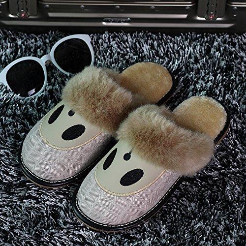 Inverno habuji pantofole di cotone borse con antiscivolo scarpe caldo home pantofole scarpe simpatico cartoon femmina tendenza, 41-42, kaki
