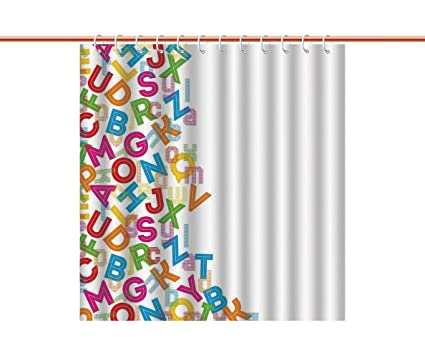 Mildew Resistant Shower Curtain Colorful Home DecorAlphabet Background With Letter Icons Words Literature