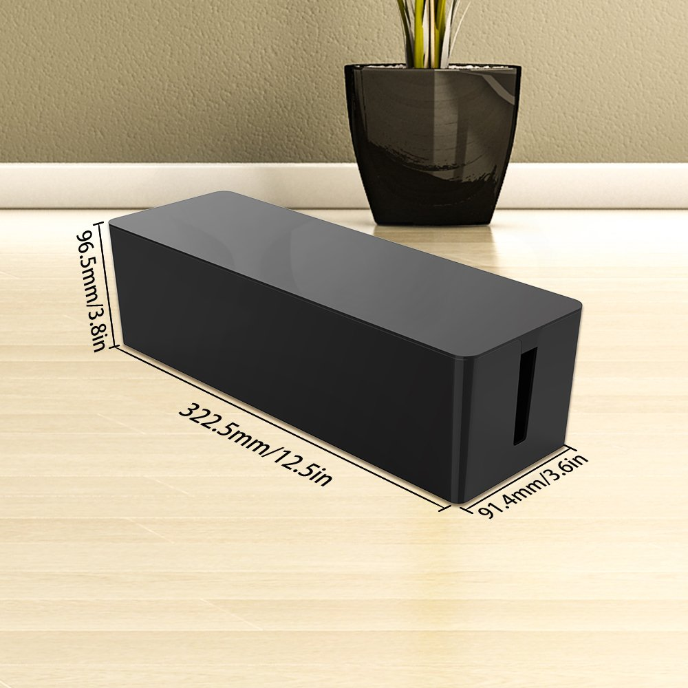 QICENT Cable Management Box 12.7 X 3.8 X 3.6 inches Electronics Organizer Box for Desk & TV & Computer Power Strips, Surge Protector, TV Computer Cable, USB Hub and More by QICENT (Image #2)