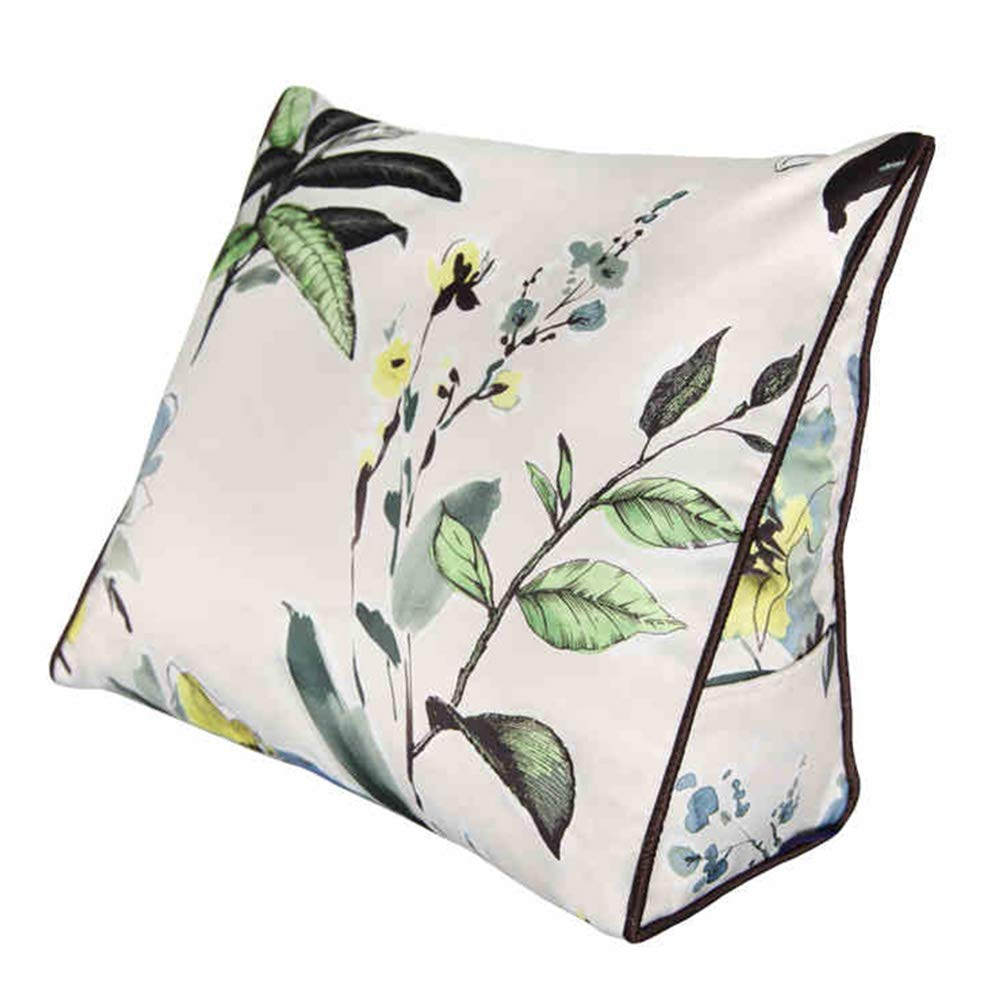 Lumbar Pillow Cailin, Bedside Triangle Pillow, Backrest, Office Cushion, Sofa Pillow, Silk, Plant and Flower (Size : 451540CM)
