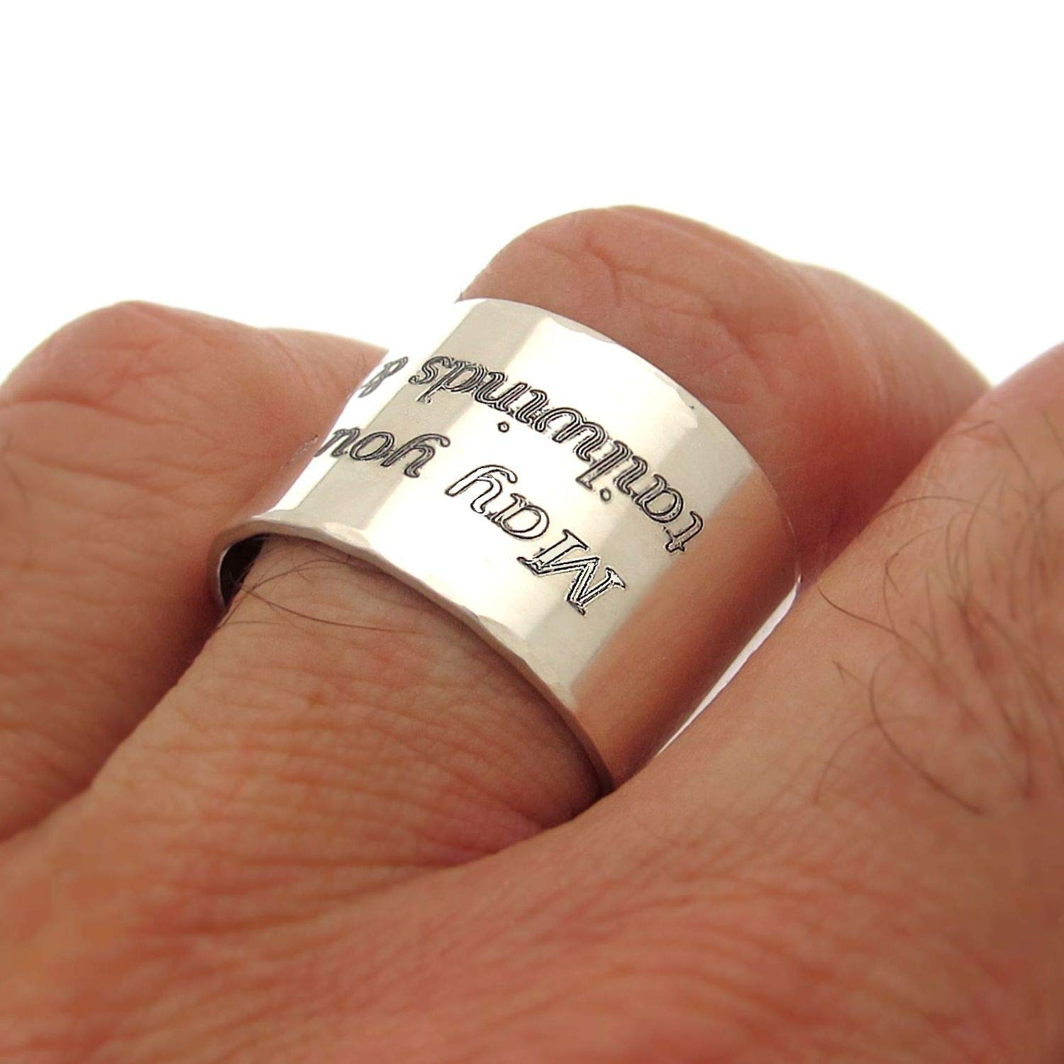 Center Line Ring for Men Sterling Silver Mens Ring Personalized Mens Gift