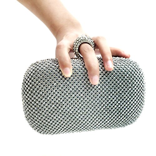 Bidear (TM) Women Sparkling Metal Lock Clutch Rhinestone Frosted Evening Party Clutches (Silver)