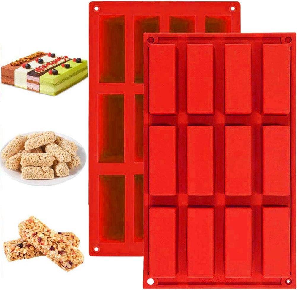 Molde de silicona mini rectangular para tartas de 12 formas rectangulares para tartas, cupcakes, postres, chocolate, pasteles, 2 unidades