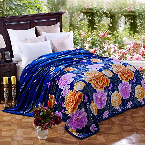 Bedding Extra Soft Coral Fleece Blanket Lightweight Thickening Throw Bed Blanket Color Blanket Blue King 91X99