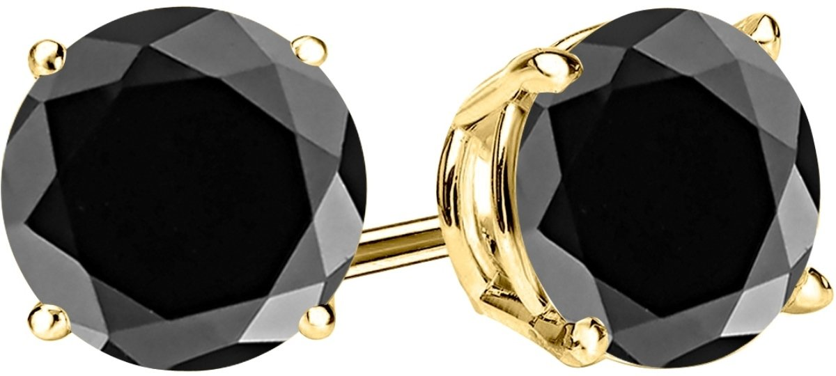 1 Carat Total Weight Black Diamond Solitaire Stud Earrings Pair 14K Yellow Gold Popular Premium Collection 4 Prong Push Back