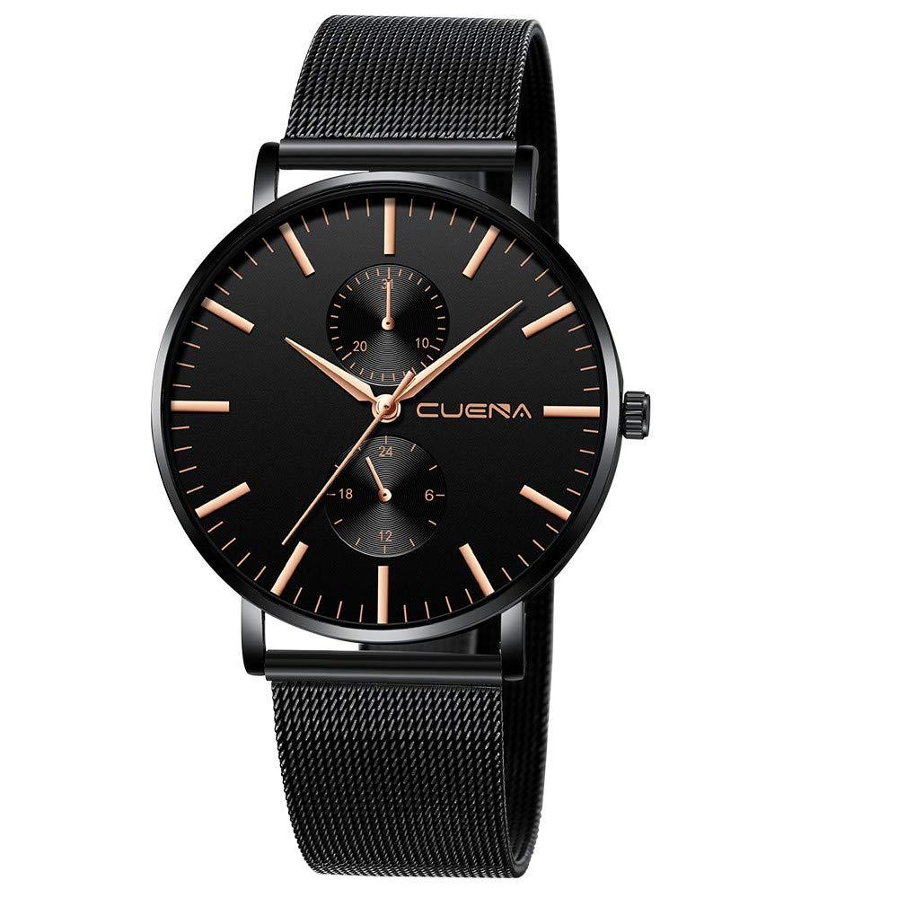 Minimalist Wrist Watches for Men, Unisex Analog Quartz Watch with Steel Mesh Strap 30m Waterproof by Bravetoshop(A)