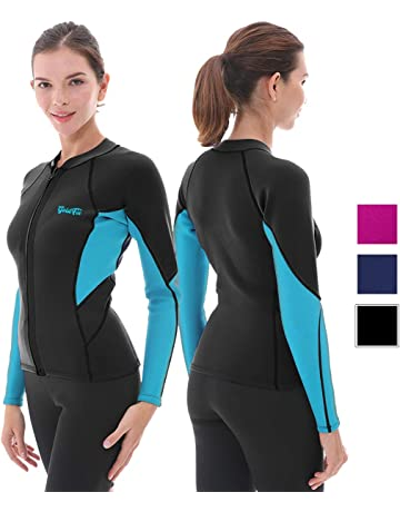 ab7549280ab9a Goldfin Women's Wetsuit Top, 2mm Neoprene Wetsuit Jacket Long Sleeve Front  Zip Wetsuit Shirt for