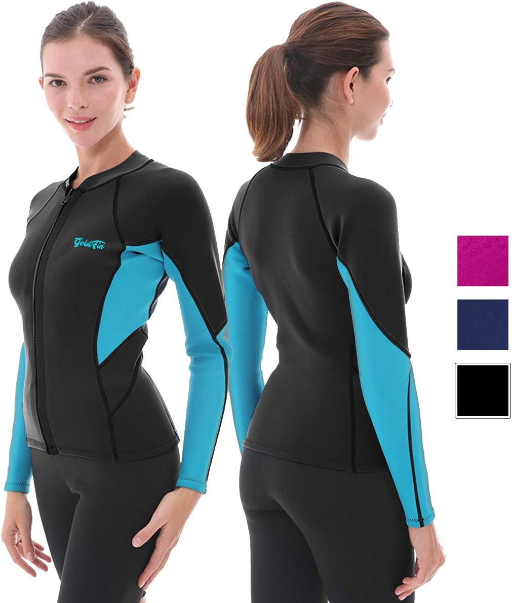 GoldFin Women's Wetsuit Top, 2mm Neoprene Wetsuit Jacket Long Sleeve Front Zip Wetsuit Shirt for Swimming Water Aerobics Diving Surfing Kayaking