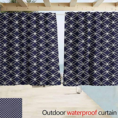 (MaryMunger Sliding Door Curtain Indigo Trellis Inspired Circles Draft Blocking Draperies W55x39L Inches)