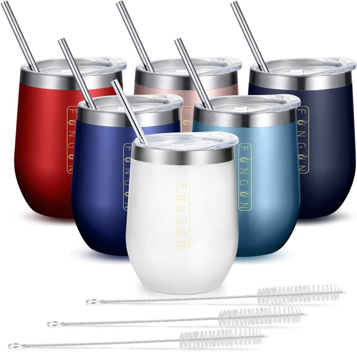 6 Pack Stemless Wine Glass Tumbler with Straw Fungun 12 oz Stainless Steel Double Wall Vacuum Insulated Wine Tumbler Cup with Lid for Wine, Coffee, Drinks, Cocktails, Champagne