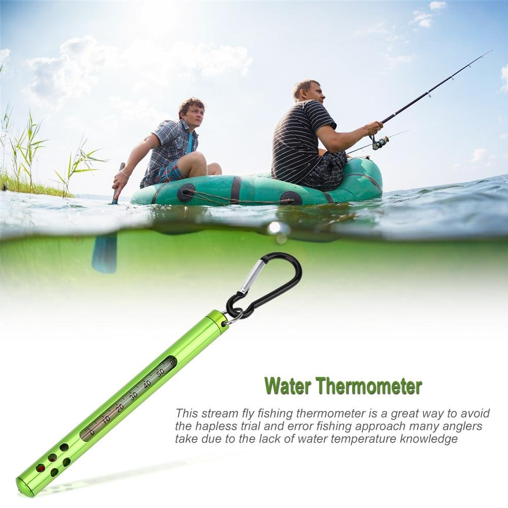 Qiterr Fly Fishing Water Thermometer Fishing Accessories Outdoor Metal Fly Fishing Water Stream Thermometer Fishing Accessories