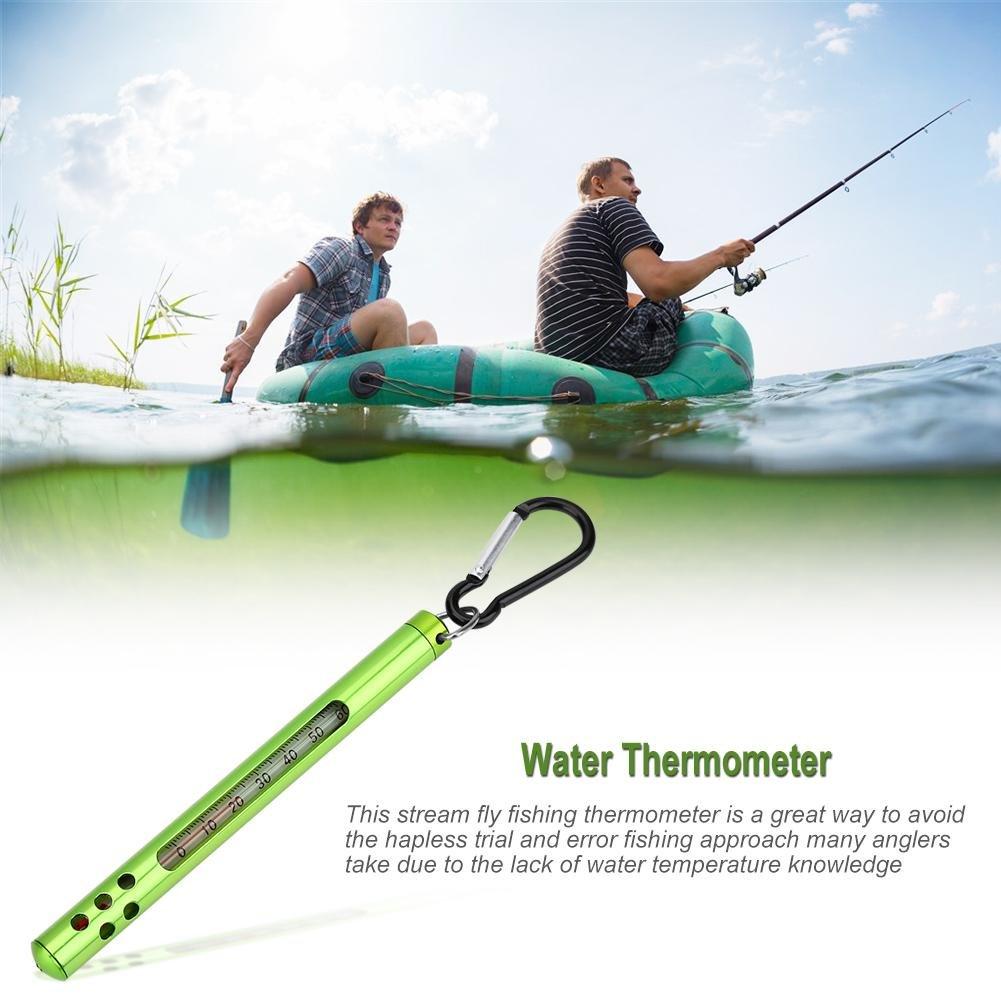 Fly Fishing Thermometer Outdoor Metall Wasserstrom Temperaturmessung 60 Celsius f/ür Stream River Lake Fliegenfischen Zubeh/ör Tbest Angeln Thermometer Wasserthermometer Digital