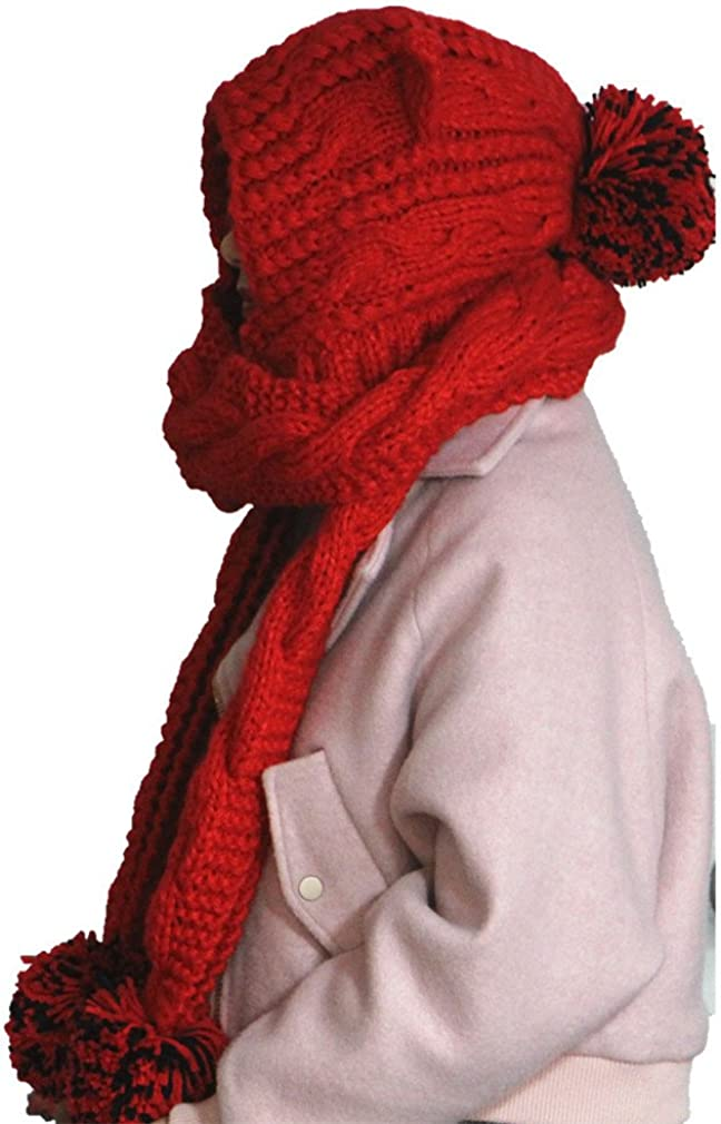 ALLDECOR Valentines Day gifts winter big pom scarf beanie hat handmade knitted cap