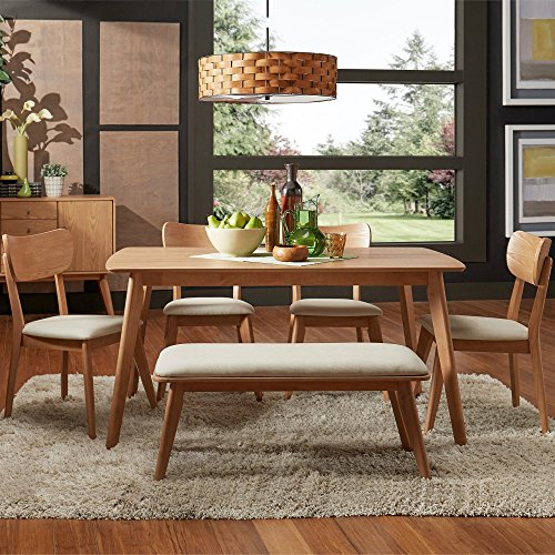 6 Pc Dining Room Table Set for 6, Woven Textured Cushion Beige Seats, 4 Dining Chairs and a Bench, Natural