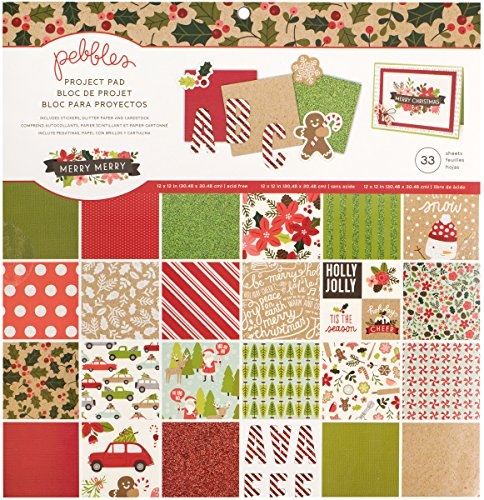 American Crafts Pebbles Merry 33 Sheet 12 x 12 Inch Project Pad