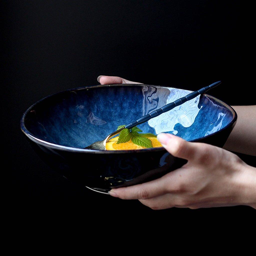 Japanese-style Creative Ceramics Bowl Noodles Fruit Salad Ramen Soup Large Bowl ( Color : Blue , Size : Small ) August half