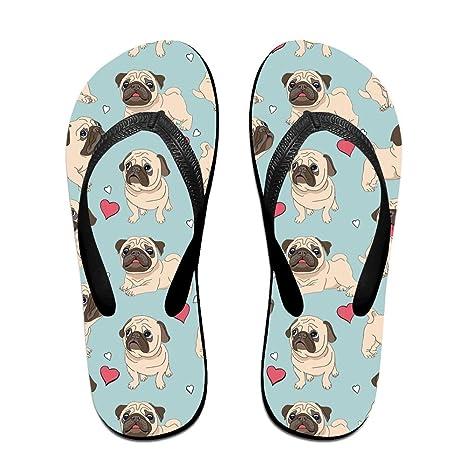 25d13c7c54bda6 Cute Pug Dog Unisex Thong Workout Flip-flops Casual Beachwear Home Great  For Women