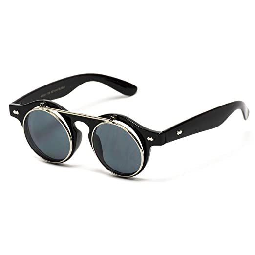 241eaa02775 Flip up Cyber Steampunk Round Circle Retro Sunglasses (Black Silver Rimmed
