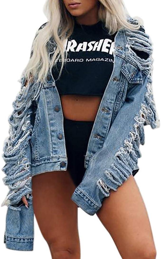 Damen Jeansjacke, LeeMon Womens Casual Plus Size Langarm Cowboy Mantel Bluse Button T-Shirt Tops
