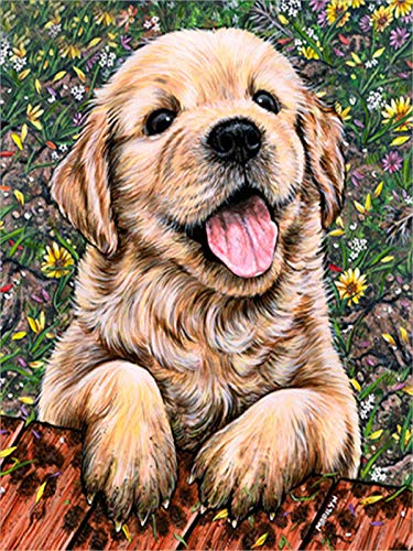 DIY 5D Diamond Painting by Number Kits, Painting Cross Stitch Full Drill Crystal Rhinestone Embroidery Pictures Arts Craft for Home (Well-Behaved Dog)