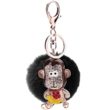 Mlotus Womens Faux Fur Ball Pom Keychains Cute Monkey Car Bag Key Rings  Charm(black a01829d614