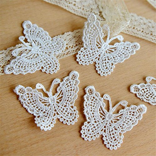 smboy 1Yard Guipure Butterfly Applique Trimming Lace Ribbon 45mm Wide DIY Jewelry Clothing Wedding Floral Accessories ()