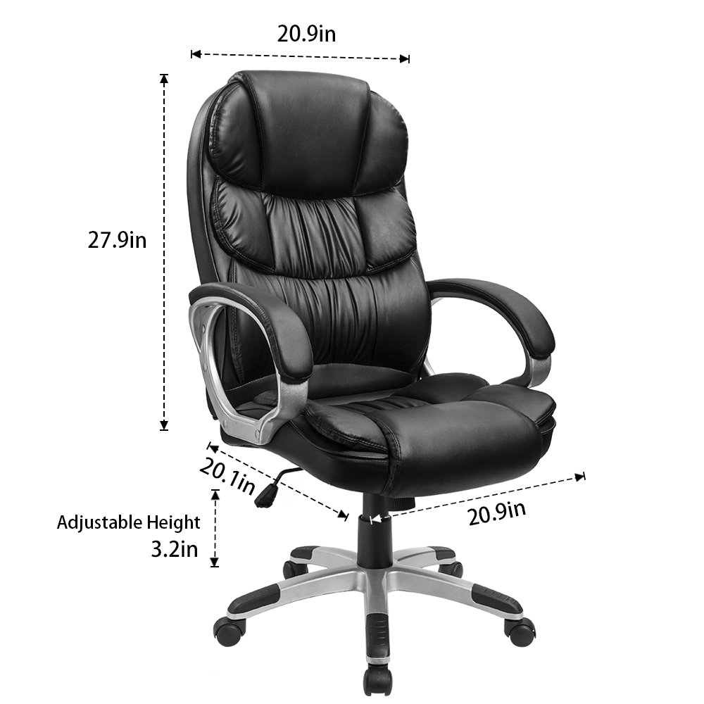 Furmax High Back Office Chair PU Leather Executive Desk Chair with Padded Armrests,Adjustable Ergonomic Swivel Task Chair with Lumbar Support(Black) by Furmax (Image #7)