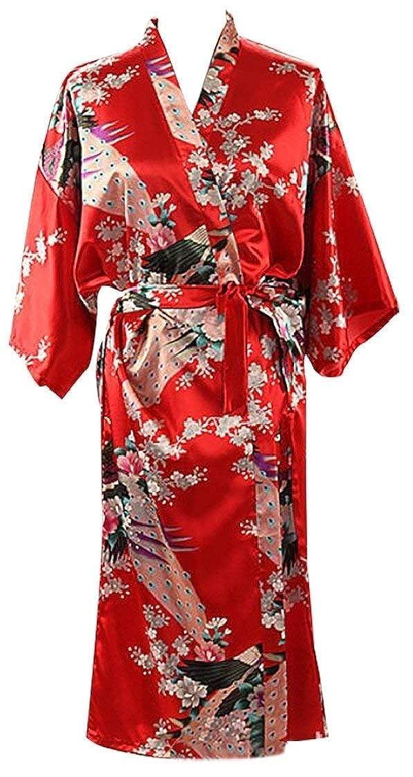 Bademantel Damen Frühling Herbst Kimono Fashion Elegante Casual Pyjama Langarm Classic V-Ausschnitt Blumenprint Mit Gürtel Nachthemd Morgenmantel Kleidung (Color : Rot, Size : M)