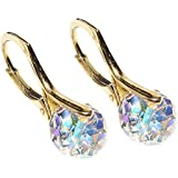 Stunning 8mm Briolette Genuine Crystals From Swarovski® Gold Over Sterling Silver Earrings. Stamped. Available In A Range Of Gorgeous Colours. 2.6GR Total Weight. Outstanding Quality Finish.
