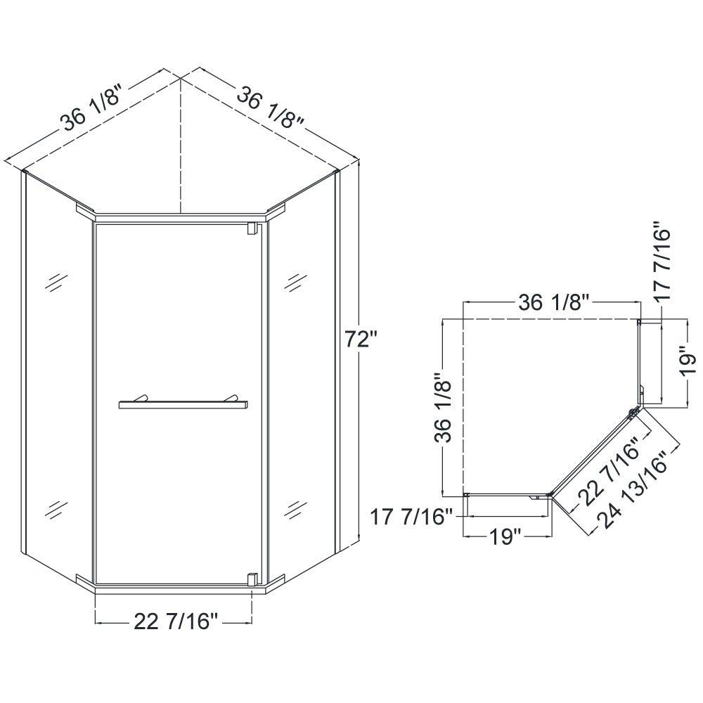 DreamLine DL-6031-01 Prism Frameless Pivot Shower Enclosure ...