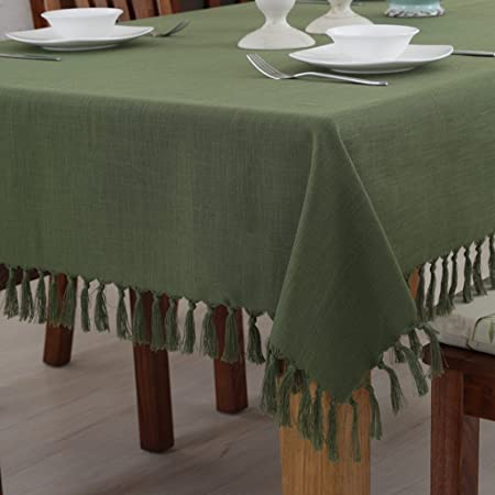 Wcui Tablecloth Solid Color Cotton And Linen Dark Green Table Cloth Simple  Tassel Coffee Table Cloth