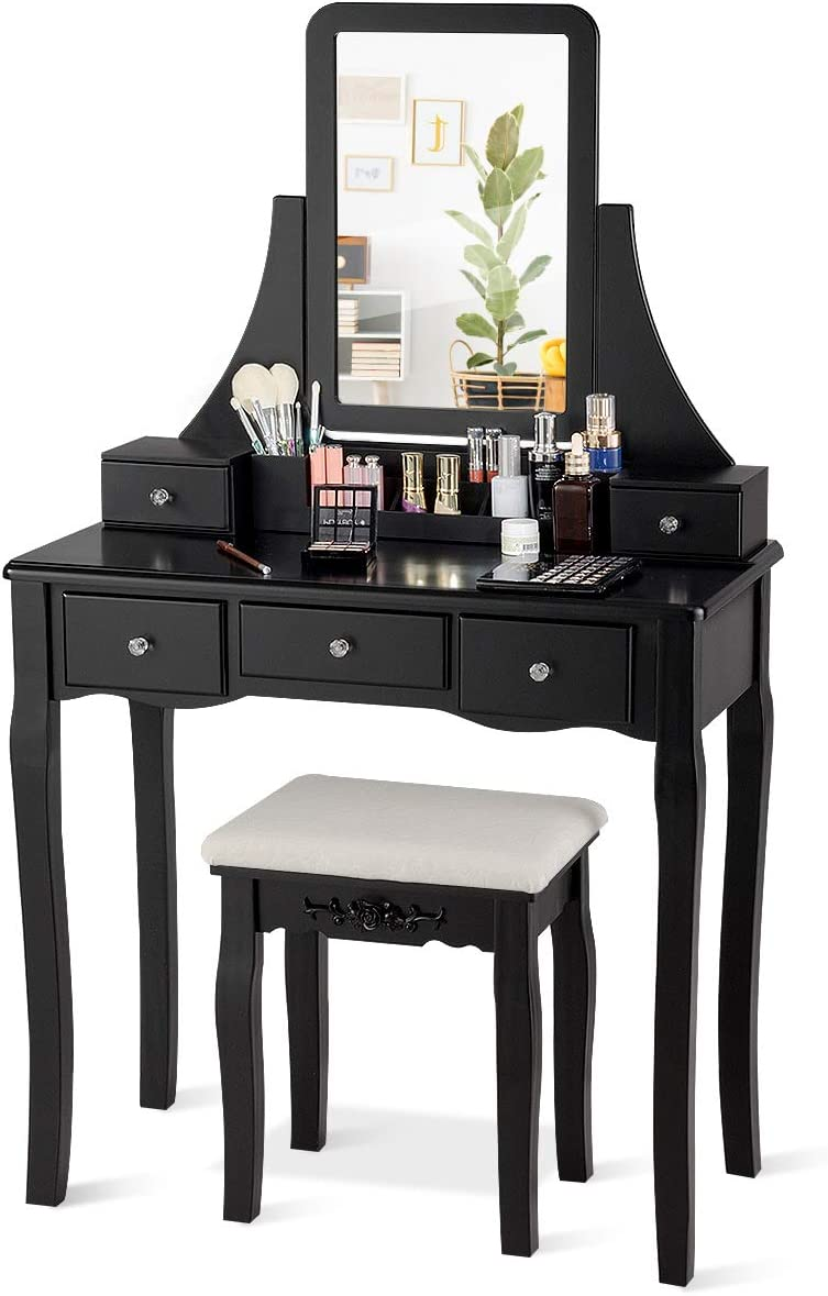 CHARMAID Vanity Set with 5 Drawers, 2 Dividers, Removable Storage Box, Dressing Table Set with Square Mirror Cushioned Stool for Women Girls, Bedroom Bathroom Furniture Makeup Vanity Set Black