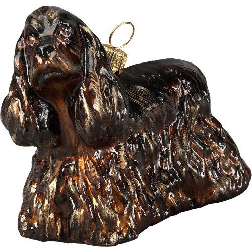 Brown Cocker Spaniel Standing Polish Glass Christmas Ornament Dog Decoration (Glass Ornament Spaniel)