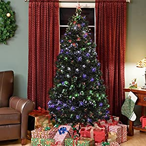 Best Choice Products Pre-Lit Fiber Optic 7' Green Artificial Christmas Tree with LED Multicolor Lights and Stand
