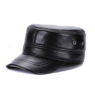 bb0540ecc Sandy Ting Genuine Leather Army Cap Golf Cadet Military Hat Earflaps ...