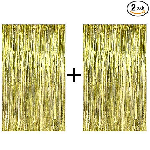 AMAZECO 2 Pack Foil Fringe Curtain Gold Metallic Photo Booth Tinsel Backdrop Door Curtains For Birthday Bachelorette Parties Weddings Christmas and New Years Eve Party Decorations.