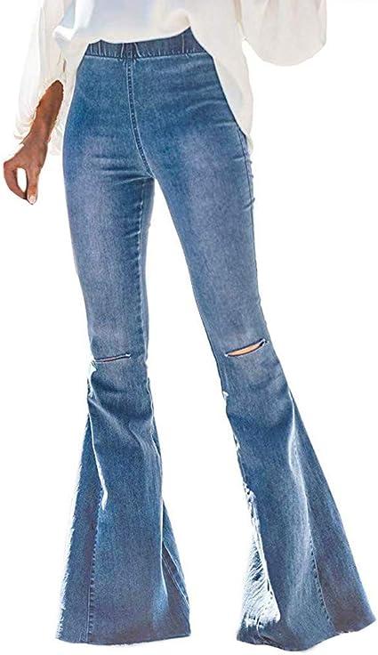 Imagen deHCFKJ Mujeres Destoryed Flare Jeans Pantalones De Mezclilla con Cintura EláStica