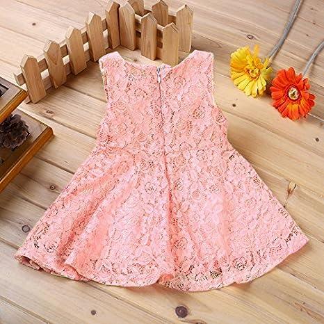 becb88fb8 Amazon.com : Rorychen Baby Girls' Sleeveless Lace Zipper Dress 24 Months  Light Pink Color: Light Pink Size: 24 Months, Model: Baby