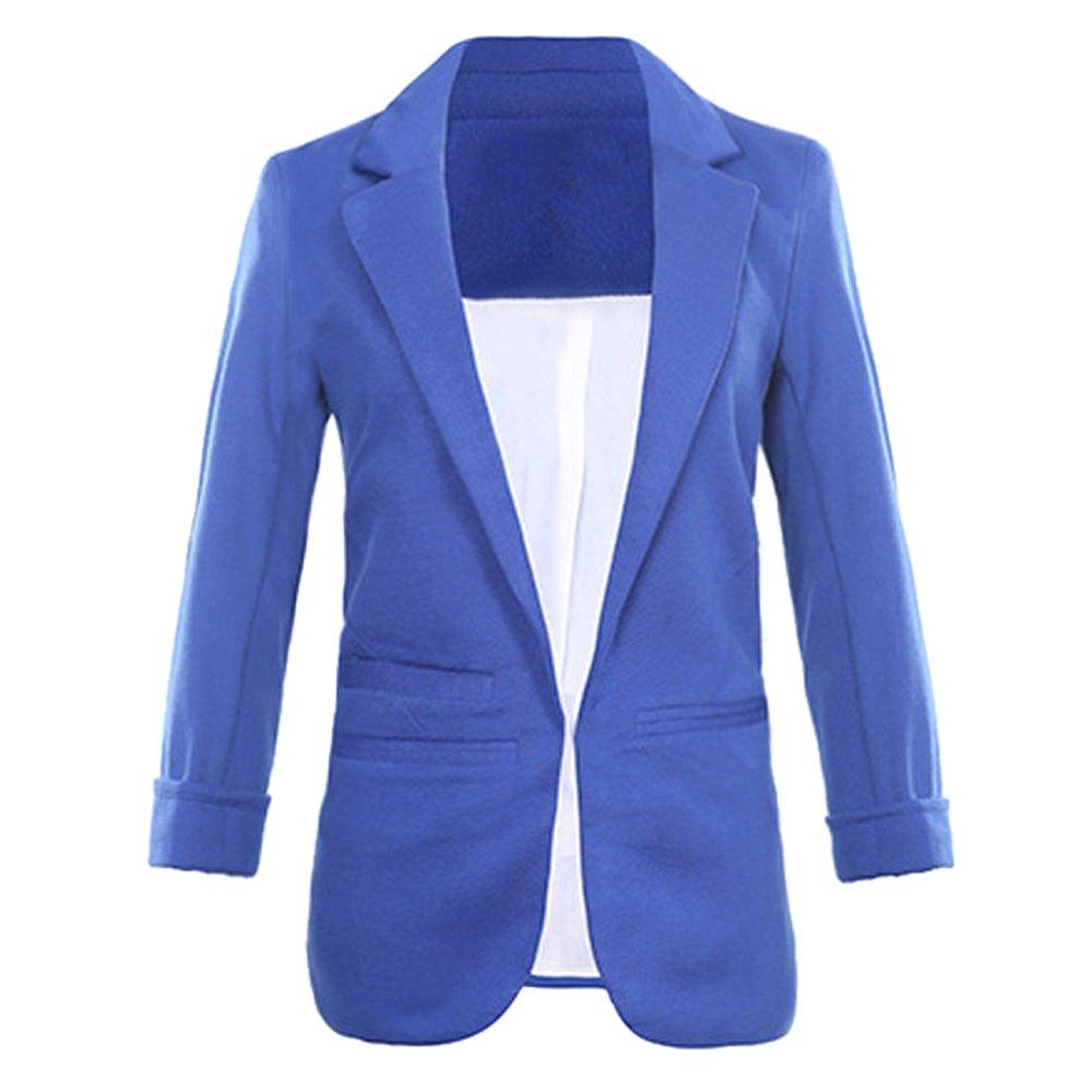 Lrud Women's Fashion Cotton Rolled Up 3/4 Sleeve Slim Office Blazer Jacket Suits Navy Blue XXL