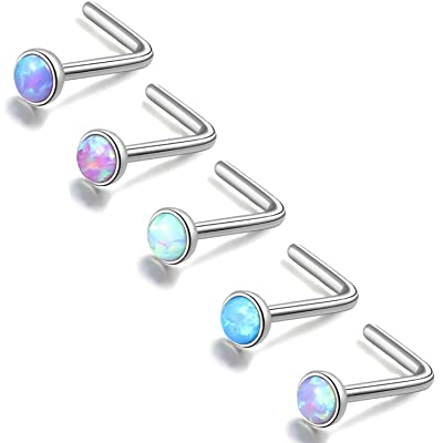 Details about  /Opalite Stone Press Fit 316L Surgical Steel Nose Bone 20 Gauge 1//4 inch 2mm N50