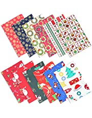 12 Pcs Christmas Themed Cotton Fabric Square Bundles Quilting Cloth Santa Claus Snowflake Patchwork Fabric Scraps for Xmas Gift Wrapping Sewing Work DIY Craft,19.7 x 19.7 inches/50 X 50 cm