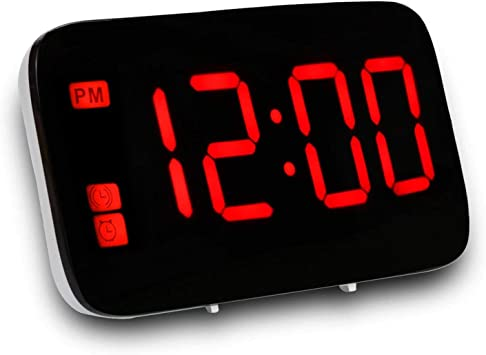 Nrpfell Réveil, Réveil Numérique avec Commande Vocale Et Grand Snooze, Horloge LED pour EnfantsGros DormeursChambre à CoucherMaisonVoyageBureau
