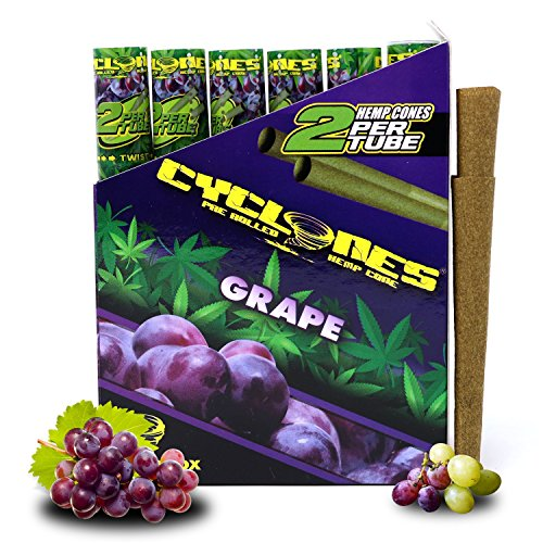 Cyclones Grape Pre-Rolled Flavored Hemp Wraps (12 Packs, 2 Wraps Per Pack) Total 24 Wraps and ES Scoop Card