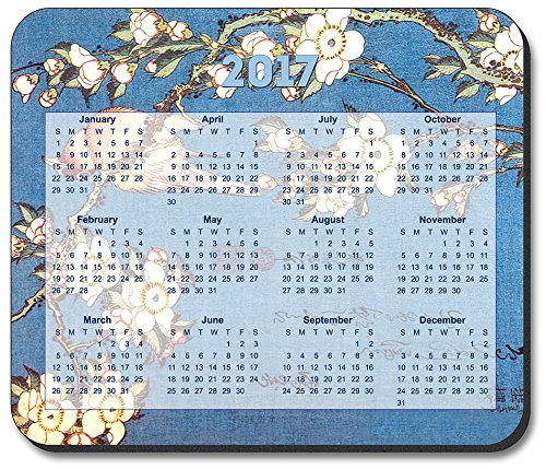 Hokusai: Weeping Cherry & Bullfinch Mouse Pad - with 2017 Ca