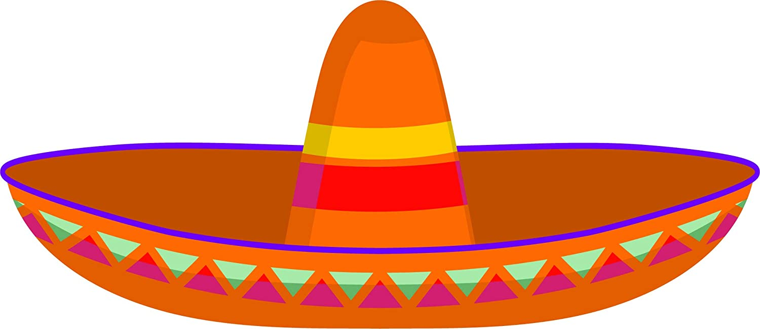 Amazon com simple colorful mexican sombrero hat cartoon vinyl sticker 8 wide red automotive