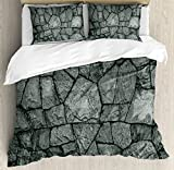 Grey Queen Size Duvet Cover Set by Ambesonne, Stone Wall Texture Image Rough Rusty Blocks Obsolete Structure Antique Grunge Weathered, Decorative 3 Piece Bedding Set with 2 Pillow Shams, Grey