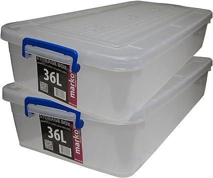 Juego de 2 cajas de almacenaje resistentes con ruedas y tapa de clip, 36 litros: Amazon.es: Bricolaje y herramientas