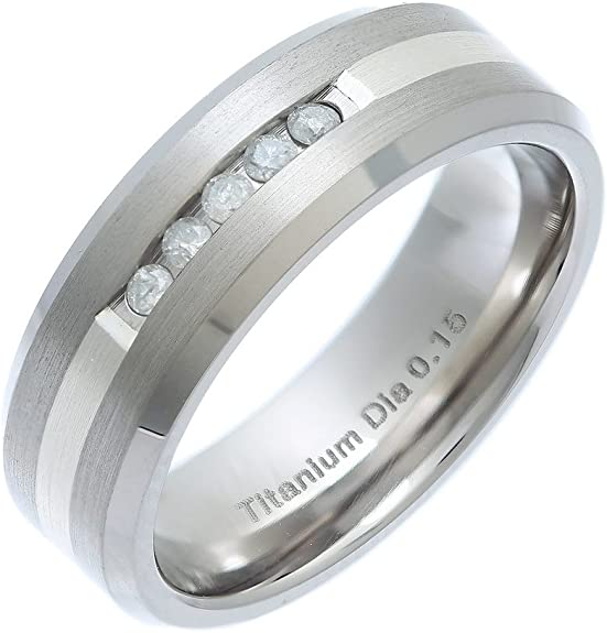 Theia Bague Titane et Argent Incrusté Forme Ruban Confort 0.15ct Diamant, Mate 7mm