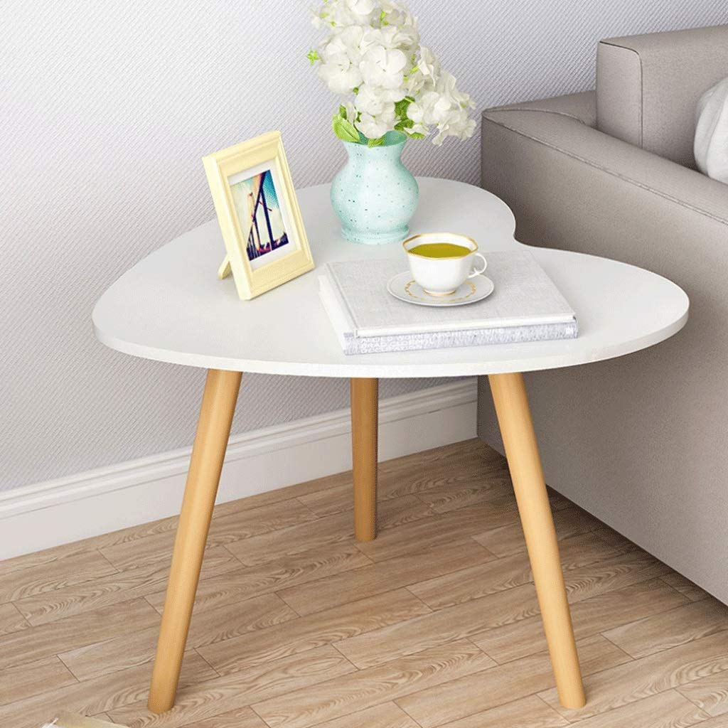 Heart-Shaped Coffee Table Solid Wood Side Table Workbench Bedroom Bedside Living Room Sofa Terrace, Wood Color (Color : White) by Small table